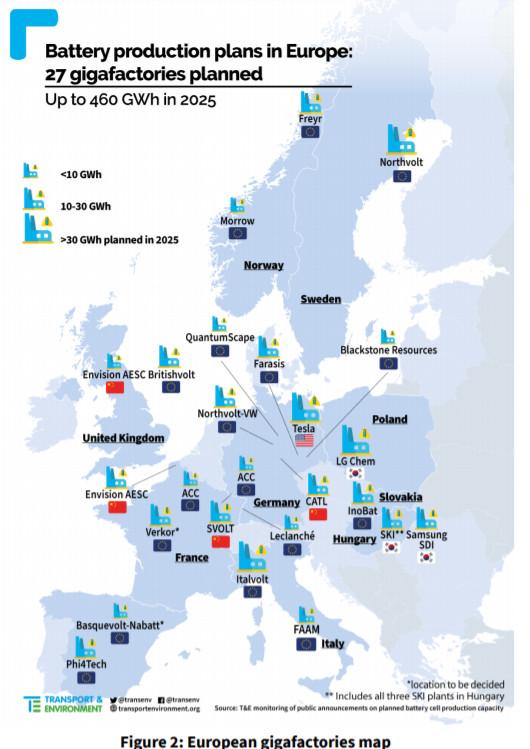 mappa siti produzione batterie auto in ue